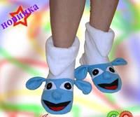 Женские и детские тёплые флисовые тапочки домашние синие смурфики