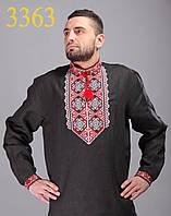 Мужская вышиванка из черного льна, красный с белым орнамент