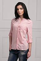 Оригинальная летняя рубашка нежно-розового цвета в мелкий цветочек