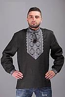 Мужская вышиванка с длинным рукавом выполнена на качественном черном льне