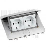 Выдвижной розеточный блок в стол или пол 4-модульный, Legrand, цвет алюминий