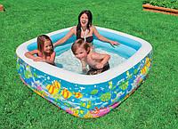 """Надувной детский бассейн Intex 57471 """"Аквариум"""" 159*159*50см, квадратный бассейн для ребенка, бассейн интекс"""