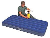 Надувной матрас велюровый Intex 68757 Classic Downy Bed 191*99*22см, надувная кровать intex