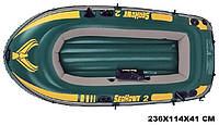 Трехкамерная надувная лодка из ПВХ под транец Intex 68346 SeaHawk-2, лодка надувная Intex 236*114*41см
