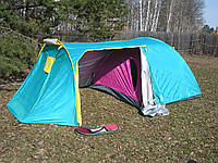 Палатка 3-х местная с тамбуром Cliff SY A18, туристическая палатка, палатка двухслойная, палатка трехместная