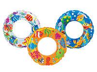 Круг надувной Intex 59242 61см 3 цвета, надувной круг для плавания intex, прозрачный надувной круг