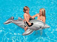 Детский надувной плотик игрушка Дельфин Intex 58535 175*66см, надувная игрушка-плотик для плавания