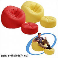 Надувное кресло с пуфиком Intex 68558, кресло надувное 107х104х74см, кресло с пуфиком intex