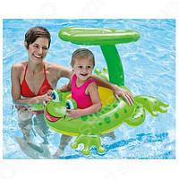 Плот для малышей с крышей Лягушонок Intex 56584 119*79 см, детский надувной плотик для купания