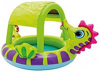 """Надувной детский бассейн с навесом """"Морской конек"""" Intex 57110, бассейн для малышей 124*109*71см"""