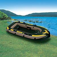 Надувная лодка с надувным дном под транец Intex 68349 Seahawk 3, лодка надувная 3 х местная 287*119*42см