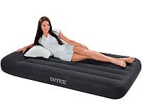 Надувной велюровый матрас с подголовником Intex 66767 черный, ортопедический матрас 1 спальный 191*99*30см
