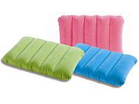 Подушка подголовник дорожная Intex 68676 Downy Pillow Intex, надувная подушка 43*28*9см, туристическая подушка