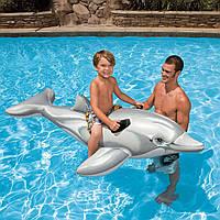 Надувной плотик игрушка Дельфин Intex 58539 201*76см, детский надувной плотик для плавания