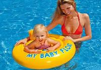 Детский надувной плотик для плавания Intex 56585 76см, детский круг с ножками, круг для малышей