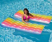 """Надувной матрас """"Цветные волны"""" Intex 58876 191*81см, одноместный пляжный матрас, матрас для купания"""