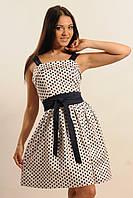 Кокетливое платье с модным стильным принтом  Бридж  цвета: темно-синий | белый