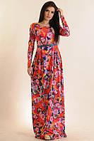 Длинное платье с цветочным принтом Фиона  цвета: бриз   розовое
