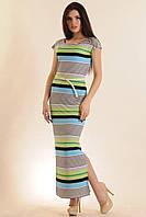 Длинное платье из струящейся ткани с морским летним принтом полоску Радуга-Макси  цвета: Салат | серый,