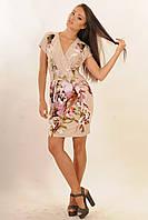 Короткое летнее платье с принтом Софи  цвета: беж | зелёный,