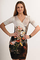 Платье с запахом Хризантема-принт цвета: цветочный принт