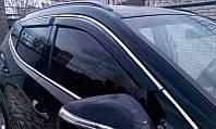 Дефлекторы окон (ветровики) Nissan Juke 2010-> 4дв  Хром молдинг