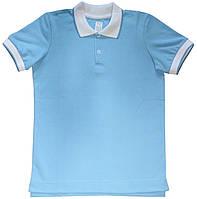 Футболка поло для мальчика, голубого цвета, трикотажный воротник, рост 140 см, 146 см, ТМ Ля-ля