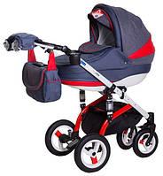 Детская коляска Adamex Lara Rainbow Red-Blue Синий лён Красная кожа