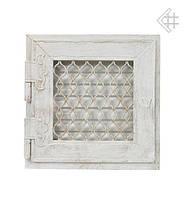 Вентиляционная решетка KRATKI Retro белая 17Х17 с одной дверкой