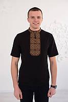 Классическая черная мужская вышитая футболка