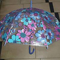 Прозрачный зонт трость с цветами