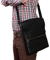 Мужская наплечная сумка формата А4, кожаная Alvi av-93black черная