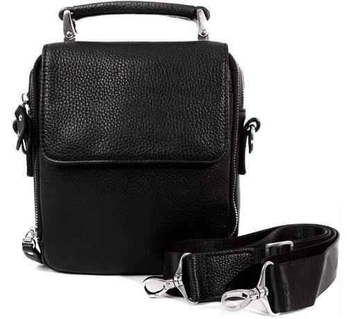 Функциональная мужская сумка из натуральной кожи черного цвета Alvi av-50-7305