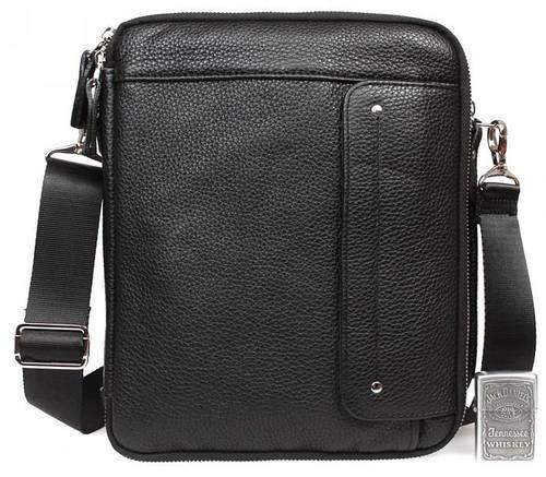 Многофункциональная мужская сумка с отделением для планшета, кожаная Alvi av-30-3687 черная