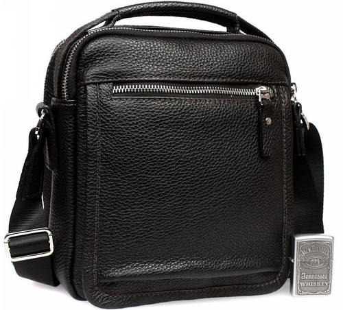Стильная мужская сумка с ручкой формата А5, кожаная, черная Alvi av-1-0092