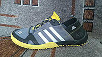 Кроссовки мужские для лета и туризма Adidas Climacool Daroga серые с желтым