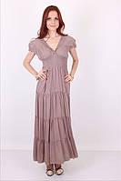 Женское однотонное платье на лето №1023 (кофе с молоком)