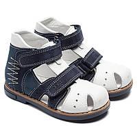 Закрытые, кожаные сандалии, сине - белые, размер 20-30