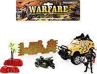 Набор военный 089-3 C джип(инер-й), мотоцикл, солдат, баррикада