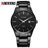 Мужские наручные часы Curren Black Ich, кварцевые с датой