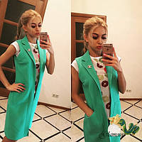 Женский стильный удлиненный кардиган с карманами