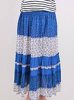 Легкая женская юбка на лето №13106 (синий)