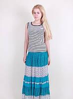 Легкая женская юбка на лето №13106 (бирюза)