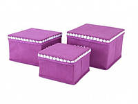 Набор коробок из 3 шт. для хранения мелочей розовые