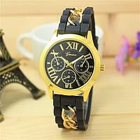 Женские часы силиконовые Geneva с золотой цепочкой черные