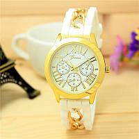 Женские часы силиконовые Geneva с золотой цепочкой белые