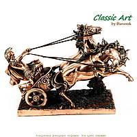 Статуэтка лошади с колесницей и античным воином TS697