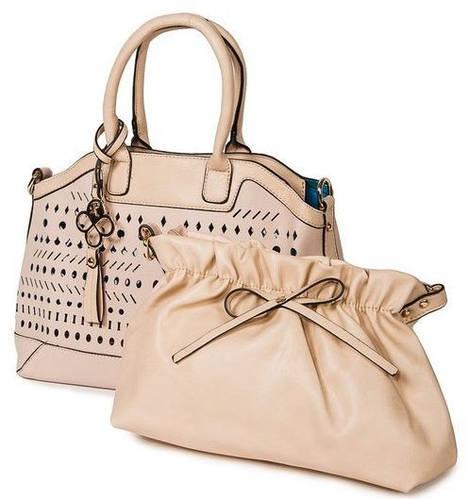Неповторимая классическая сумка женская искусственная кожа Bretton 17519 beige