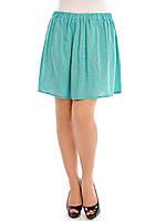 Женская юбка на лето бирюзового цвета в цветочек