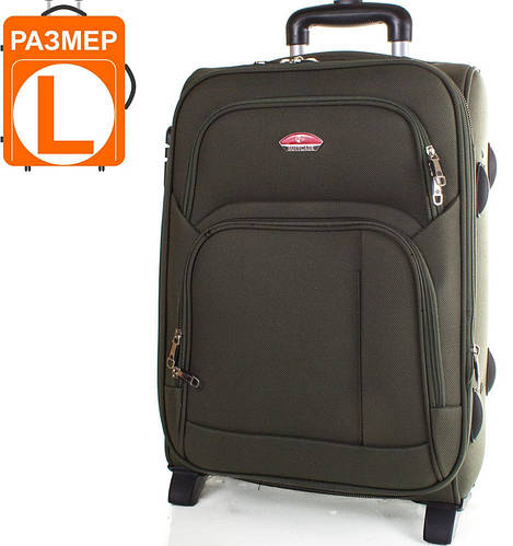 Большой качественный чемодан на 2-х колесах 86 л. SUITCASE (СЬЮТКЕЙС) APT001L-16 зеленый
